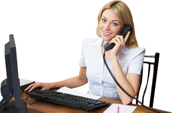 Smiling Female Receptionist on Phone