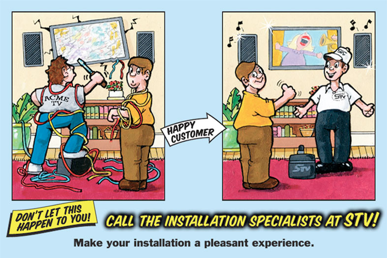 Cartoon Showing STV technician replacing a broken flat screen TV