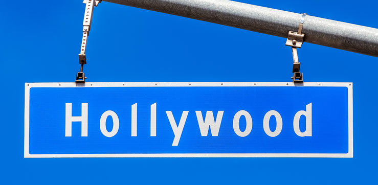 "Street sign with the ""Hollywood"" name on it."