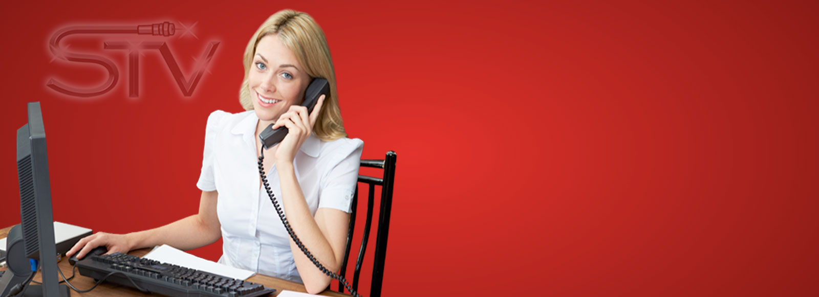 Woman Receptionist on Phone