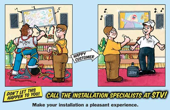 Cartoon showing STV technician fixing a flat screen TV falling off the wall
