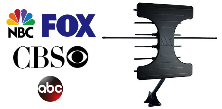NBC, Fox, CBS and ABC station logos, and roof antenna